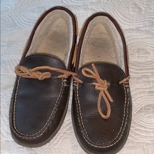 LL Bean Leather Moccasin Slippers